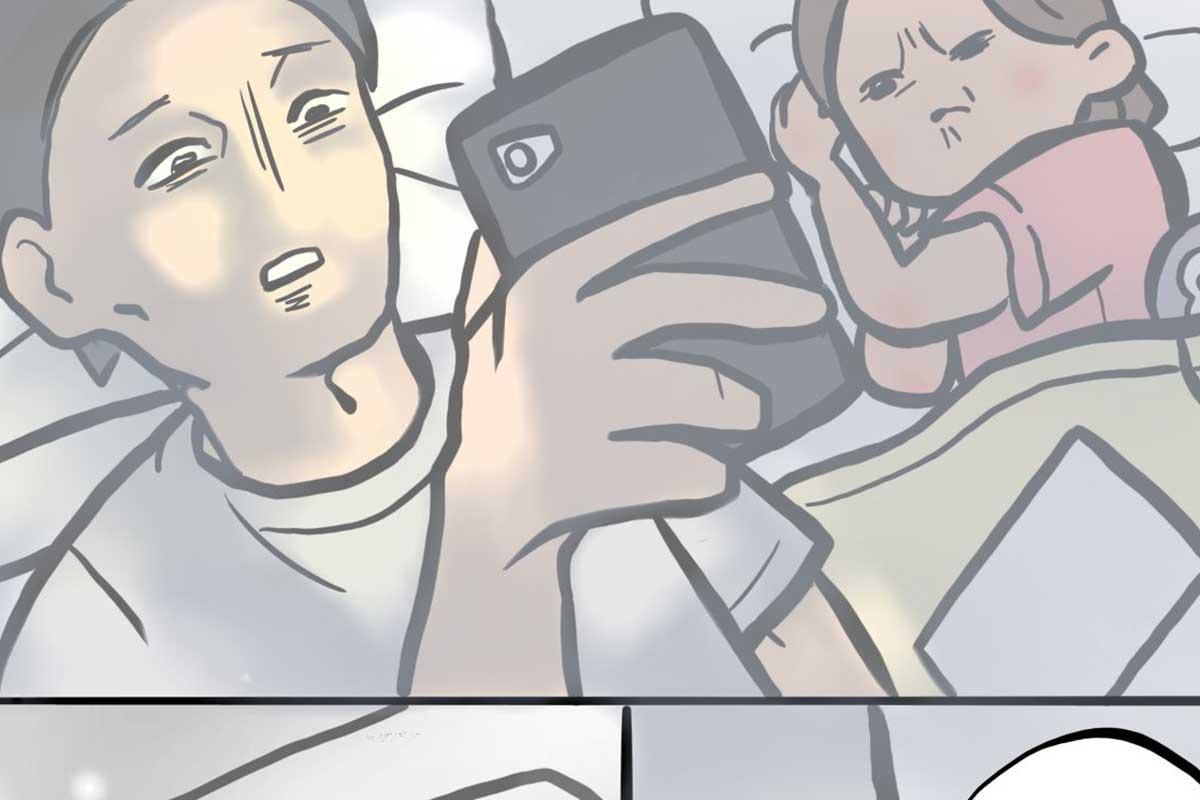 【子供の視線に気付いてますか?】スマホを見つめるパパに3歳の娘が… 漫画にツイッターで注目